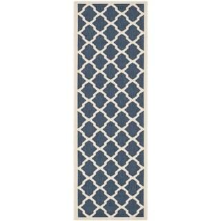 Safavieh Indoor/ Outdoor Courtyard Navy/ Beige Runner Rug (2'3 x 14')