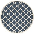 Safavieh Contemporary Indoor/ Outdoor Courtyard Navy/ Beige Rug (4' Round)
