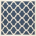 Safavieh Indoor/ Outdoor Courtyard Geometric Pattern Navy/ Beige Rug (4' Square)