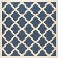 Safavieh Indoor/ Outdoor Courtyard Navy/ Beige Rug (5'3 Square)