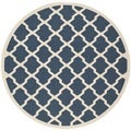 Safavieh Indoor/ Outdoor Courtyard Navy/ Beige Area Rug (7' Round)