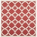 Safavieh Indoor/ Outdoor Courtyard Red/ Bone Geometric Rug (4' Square)
