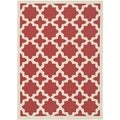 Safavieh Indoor/ Outdoor Courtyard Red/ Bone Geometric-pattern Rug (8' x 11')