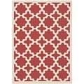 Safavieh Indoor/ Outdoor Courtyard Red/ Bone Geometric-pattern Rug (8' x 11')