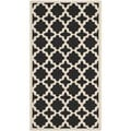 Safavieh Courtyard Black/ Beige Indoor/ Outdoor Geometric Rug (4' x 5'7)