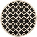 Safavieh Indoor/ Outdoor Courtyard Black/ Beige Rug (4' Round)