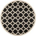 Safavieh Indoor/ Outdoor Courtyard Black/ Beige Area Rug (4' Round)