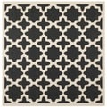 Safavieh Indoor/ Outdoor Courtyard Trellis-pattern Black/ Beige Rug (4' Square)
