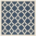 Safavieh Indoor/ Outdoor Courtyard Navy/ Beige Area Rug (4' Square)