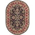 Safavieh Handmade Heritage Chocolate/ Red Wool Rug (7'6 x 9'6 Oval)