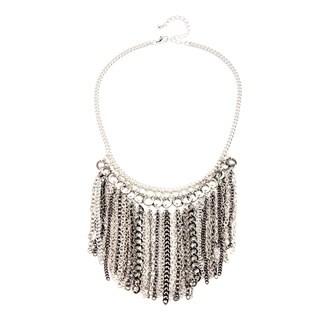 Alexa Starr Silvertone and Black Chain Fringe Bib Necklace