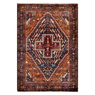 Afghan Hand-knotted Tribal Balouchi Orange/ Navy Wool Rug (3'11 x 5'8)