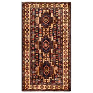 Afghan Hand-knotted Tribal Balouchi Beige/ Navy Wool Rug (3'8 x 6'10)