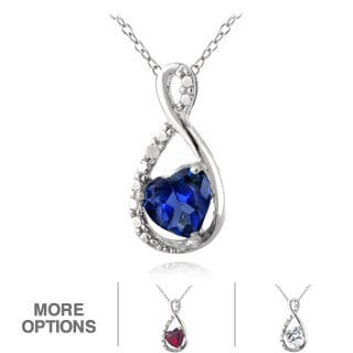 Glitzy Rocks Sterling Silver Created Spinel or Sapphire and Diamond Accent Necklace (I-J, I2-I3)
