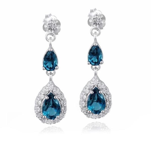 Glitzy Rock Silver Gemstones Teardrop Earrings