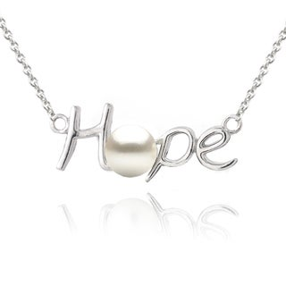 Glitzy Rocks Sterling Silver Freshwater Pearl Hope Necklace (5-6 mm)