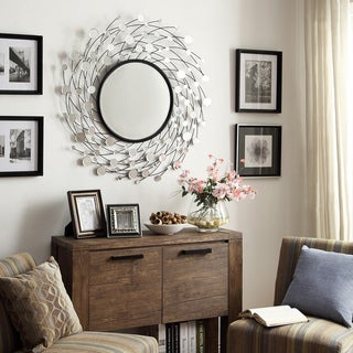 Nihoa Silver Spiral Wave Accent Wall Mirror
