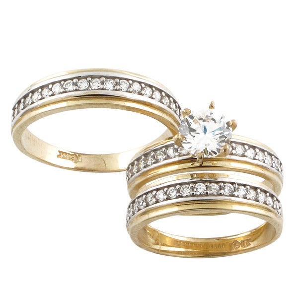 10k yellow gold cubic zirconia 39 his and her 39 wedding band set