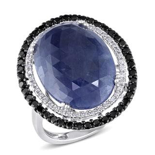 Miadora 14k White Gold Sapphire 5/8ct TDW Black and White Diamond Ring (G-H, I1-I2)