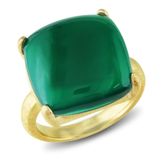 Miadora 22k Goldplated Silver Dark Green Aqua Chalcedony Ring