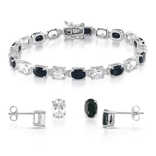 Miadora Sterling Silver White Topaz and Black Sapphire Bracelet and Earrings Set