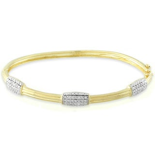 Finesque Sterling Silver 1/4ct TDW Diamond Bangle Bracelet (I-J, I2-I3)