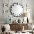 INSPIRE Q Roslyn Dotted Rays Silver Finish Accent Wall Mirror