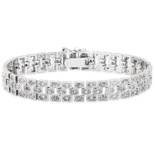 Finesque Sterling Silver 1/2ct TDW Diamond Brick Bracelet (I-J, I2-I3)