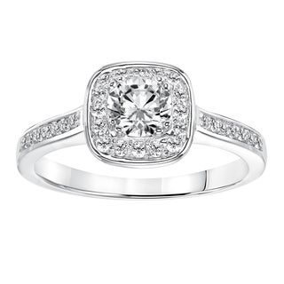 Cambridge 14K White Gold 3/4ct TDW Round Cut Halo Diamond Engagement Ring (I-J, I1-I2)