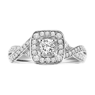 Cambridge Sterling Silver 5/8ct TDW Round Diamond Braided Engagement Ring (I-J, I2-I3)