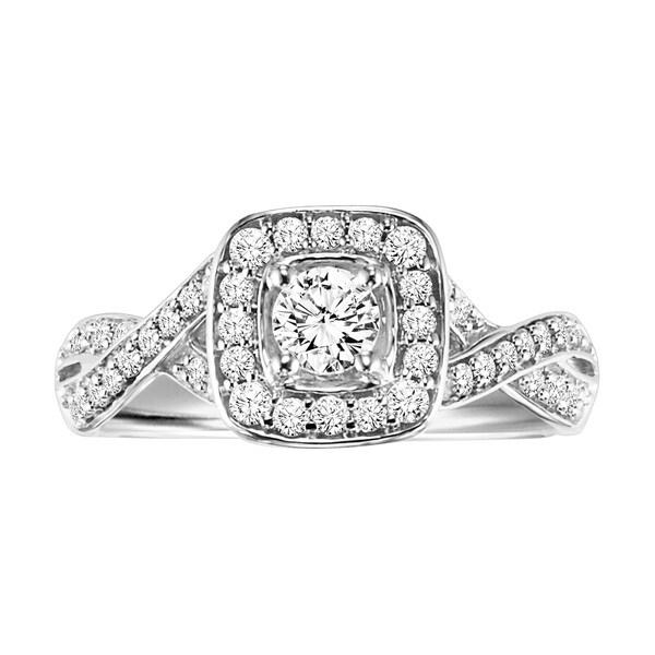 Cambridge Sterling Silver 5/8ct TDW Round Diamond Braided Engagement Ring (I-J, I2-I3)