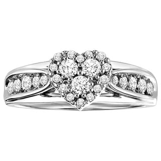 Cambridge Sterling Silver 1/2ct TDW Diamond Heart Promise Ring