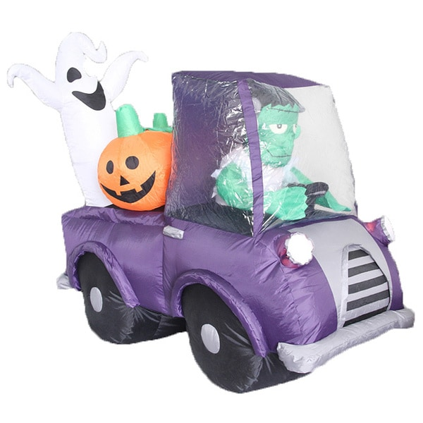 Airblown Lighted 5-foot Monster in a Purple Car Decor