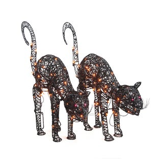 Lighted 24-inch Arched Wire Black Cats (Set of 2)