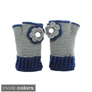 Flower Bloom Hand-knit Woolen Hand-warmer Gloves (Nepal)