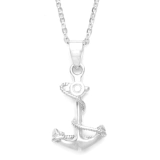 La Preciosa Sterling Silver Anchor and Winding Rope Necklace
