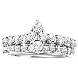 Cambridge Sterling Silver 1ct TDW Diamond Marquise Pave Bridal Set (I-J, I2-I3)