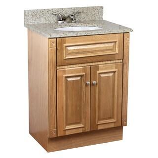 24 inch heritage oak bathroom vanity cabinet sunset gold granite top