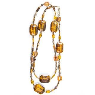 Amber Rectangular Beaded Necklace (China)