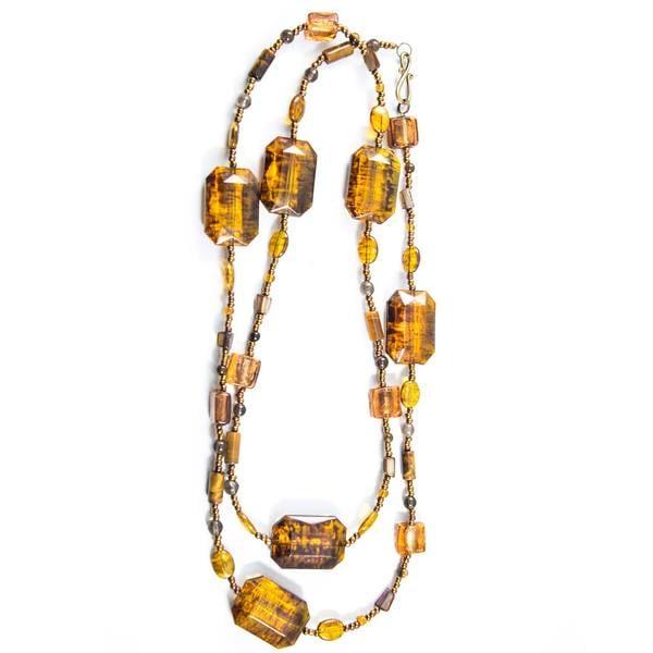 Amber Rectangular Beaded Necklace (China)
