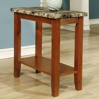Walnut Wooden Marble Chair Side End Table