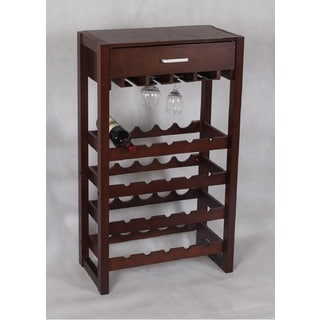 Cappuccino 20-bottle Storage Wine Rack Cabinet with Drawer