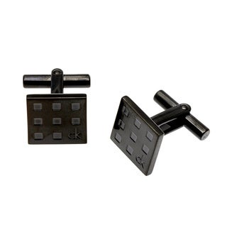 Calvin Klein Black PVD-coated Stainless Steel Grid Cuff Links