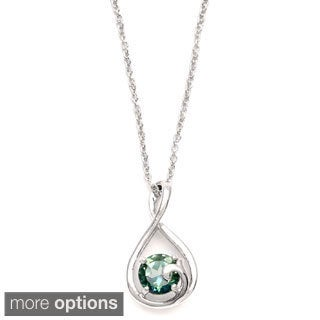Sterling Silver Round-cut Green Topaz Necklace