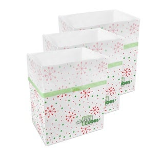 Snowflake Pattern Clean Cubes Disposable Trash Cans and Recycling Bins 3-pack