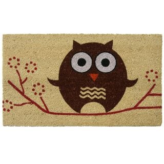 Rubber-Cal Coco Coir 'Hooo's There?' 18 x 30 Owl Doormat