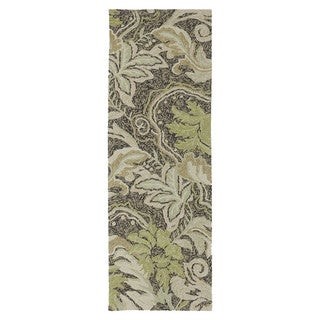 Indoor/ Outdoor Fiesta Green Leaves Rug (2' x 6')