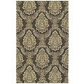 Indoor/ Outdoor Fiesta Chocolate Damask Rug (2' x 3')