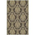 Indoor/ Outdoor Fiesta Chocolate Damask Rug (7'6 x 9')