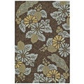 Indoor/ Outdoor Fiesta Chocolate Island Rug (5' x 7'6)